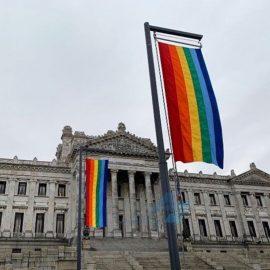 Banderas impresas institucionales con motivo de apoyo a la diversidad